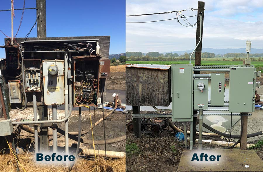 Before and after example of an electrical upgrade